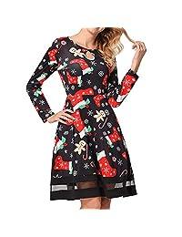 FarJing Christmas Dress, Women's Casual Lace Stitching Vintage Printed Dress