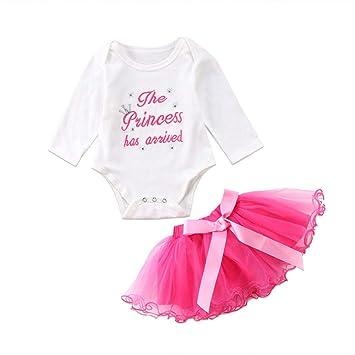 d5101baed659 Amazon.com  Newborn Baby Girl 2 Piece Set Letter Long Sleeve Romper ...
