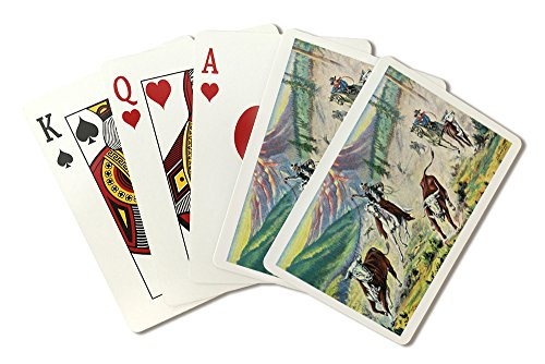 Western Scene - Cowboy Roping a Bull (Playing Card Deck - 52 Card Poker Size with Jokers) ()