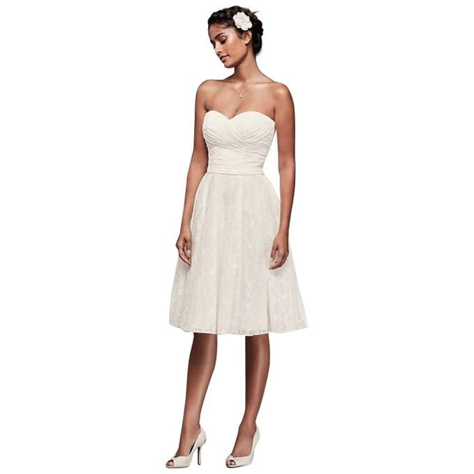 Davids Bridal Petite Strapless Lace Short Wedding Dress Style