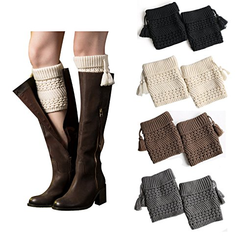 Bestjybt Womens Short Boots Socks Crochet Knitted Boot Cuffs Leg Warmers Socks (4 Pairs-Style ()