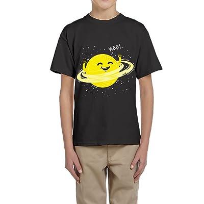 Wangbo Boy and Girl Hula Hooping Planet 100% Cotton T Shirt Teenager Tee Shirts