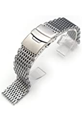 """19mm Ploprof 316 Reform Stainless Steel """"SHARK"""" Mesh Milanese Watch Band, Brushed, BB"""