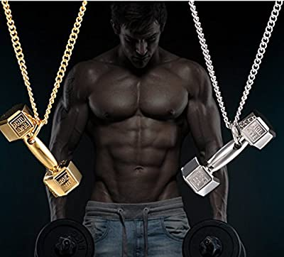 Europe Japan Korea _shall_bodybuilding_weightlifting_dumbbell_ steel necklace Pendant necklace Pendant sweater chain men women