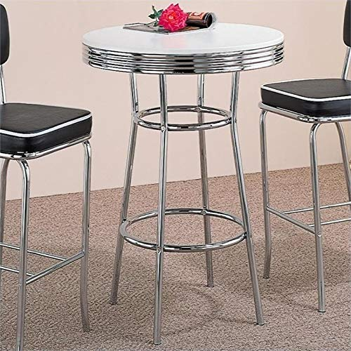 BOWERY HILL 30'' Round Pub Table in White and Chrome by BOWERY HILL
