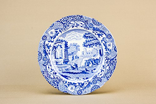 5 Vintage Blue Copeland Spodes Italian Landscape PLATES Fruit Dinner Retro Pottery Gift English Mid 20th Century LS