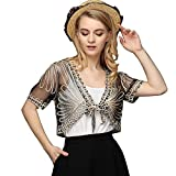 Womens Open Front Loose Shrug Casual Lightweight Short Lace Jacquard Bolero Shrug/Floral Crochet Women (XL, Back)
