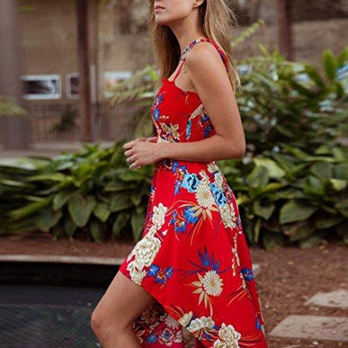 Anboo Femmes Manches Floral Sexy Écharpe Imprimé Lacets Divisés Robe Longue Rouge Irrégulière