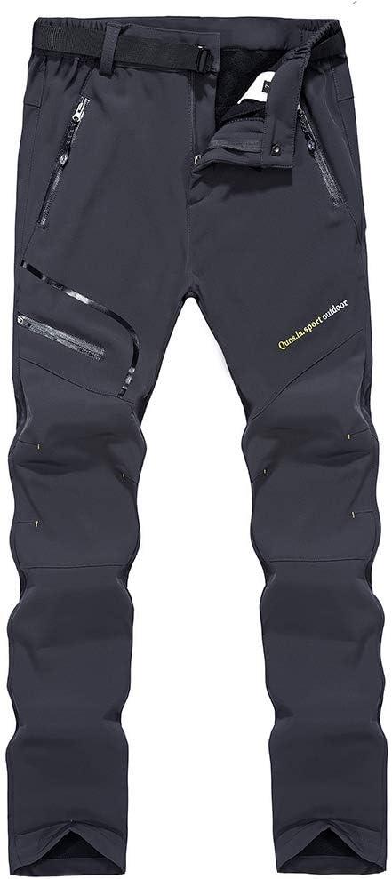 Respirant Pantalon de Ski Chaud SANMIO Pantalon de randonn/ée en Softshell pour Homme avec Doublure imperm/éable et Coupe-Vent