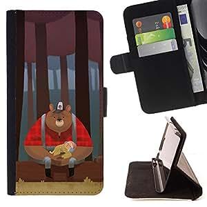 BullDog Case - FOR/Samsung ALPHA G850 / - / BEAR WOODSMAN RED WOODS BROWN /- Monedero de cuero de la PU Llevar cubierta de la caja con el ID Credit Card Slots Flip funda de cuer
