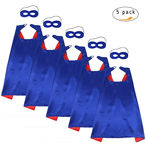 Superhero Capes with Mask Set - Boys and Girls Cosplay Fancy Capes - Kids Dress Up Holiday Party (Blue-Red) (Red Child Cape)