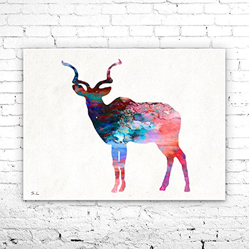Antelope 2 Watercolor Print, Fine Art Print, Children's Wall, Art Home Decor, animal watercolor, watercolor painting, Antelope watercolor