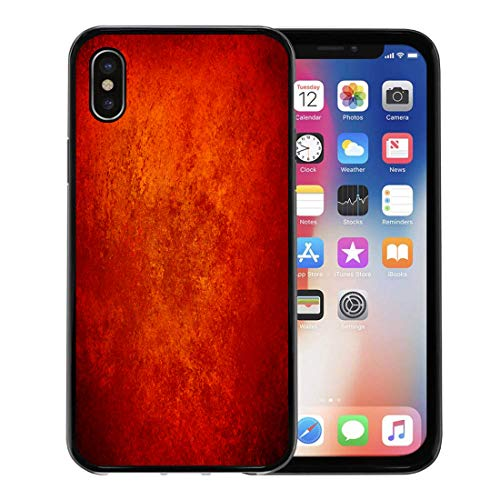 Semtomn Phone Case for iPhone Xs case,Abstract Orange Red Gold Warm Colors Black Corners Vintage Rough Distressed Sponge Fall Autumn Halloween for iPhone X Case,Rubber Border Protective Case,Black -