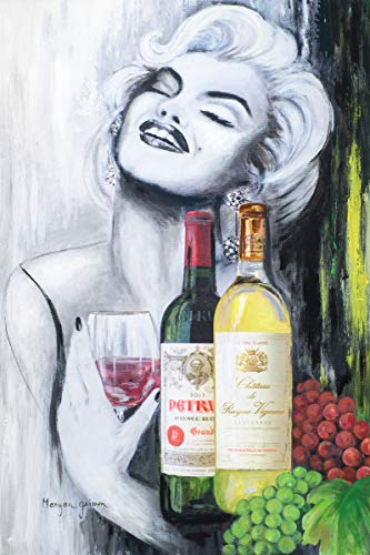Marilyn Monroe with a Glass of Wine - Orignal Painting on Canvas fine Art giclee. (Icon Unframed)