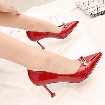 kphy-spring Fine con gatos y zapatos de hebilla de metal 8 cm punta luz
