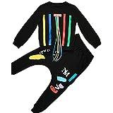 Vividda Kids Boys Long Sleeve Clothing Set Striped Shirt Top and Hiphop Harem Pants 9 Years Old Black