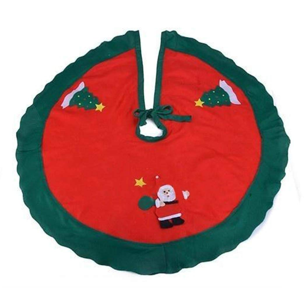 OYTRO Snowman Pattern Wavy-Shape Green Trim Christmas Tree Skirt Decorations Tree Trays & Mats(NO Tree) Tree Trays & Mats