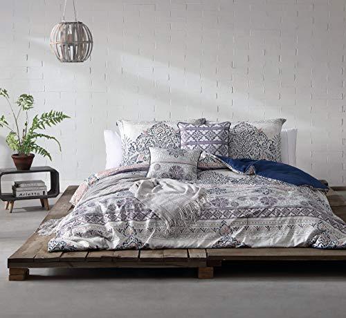 KingLinen 10 Piece Nadia Navy/Gray Bed in a Bag Set Queen
