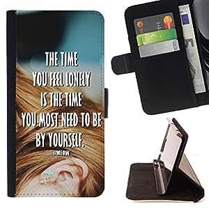 - The time you feel lonely is the time By yourself/ Personalizada del estilo del dise???¡Ào de la PU Caso de encargo del cuero del tir????n del soporte d - Cao - For Samsung Galaxy S5 V SM-G900