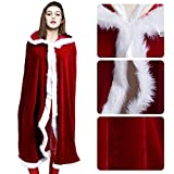 womens cloak red hooded - Christmas Hooded Cape 59 Inch Hooded Robe Cloak Fancy Cool Cosplay Costume For Adult (Single 170cm) (Dark Red)