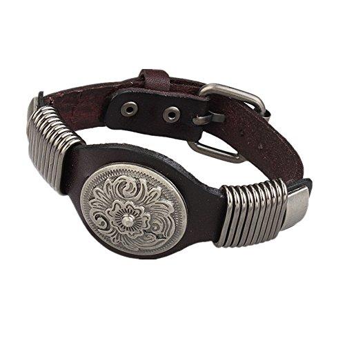 MULBA hommes r¨¦glables en cuir v¨¦ritable Bracelet Bracelet manchette Rivet-Brown SL2850