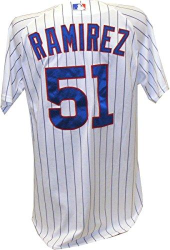 Max Ramirez Jersey - Chicago Cubs 2011 Game Worn #51 Spring Training Home Pinstripe Cool Base Jersey (48)