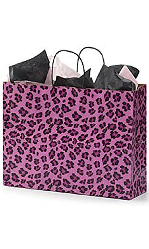 Large Pink Leopard Print Shopping Bags - Case of 100 by STORE001