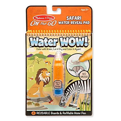 Melissa & Doug On the Go Water Wow! Safari (Reusable Water-Reveal Activity Pad, Chunky-Size Water Pen) -