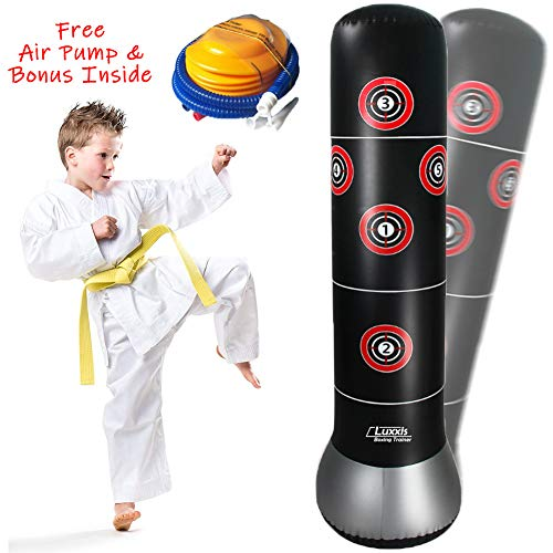 Luxxis Inflatable Punching Bag for Kids, Teens, Boys and Girls, Martial Arts Boxing Punching Dummy, Socker Bopper Toys with Air Pump and Bonus (Best Martial Arts For Kids)