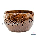 Rosewood Crafted Wooden Yarn Storage Bowl With Carved Holes & Drills | Knitting Crochet Accessories