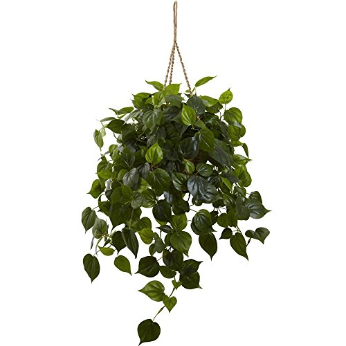 Nearly Natural 6853 Philodendron Hanging Basket UV Resistant