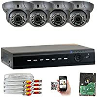 GW Security 4CH AHD HD 1920 x 1080p Outdoor Indoor DVR Security System with (4) x 1920TVL 2.8-12mm Varifocal Zoom Lens 1080P Dome Cameras, QR Code Remote Access