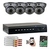 Cheap GW Security 8CH AHD HD 1920 x 1080p Outdoor Indoor DVR Security System with (4) x 1920TVL 2.8-12mm Varifocal Zoom Lens 1080P Dome Cameras, QR Code Remote Access