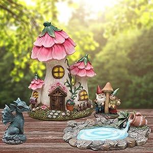 fairy garden decor gnome house kit sculptures statues dragon elf figurines fountain yard decor lawn ornaments outdoor miniature garden accessories