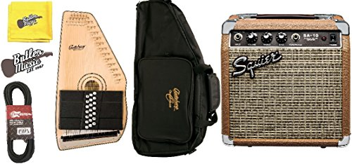 Includes Squier amplifier, gig bag, 20-foot instrument cable, polishing cloth