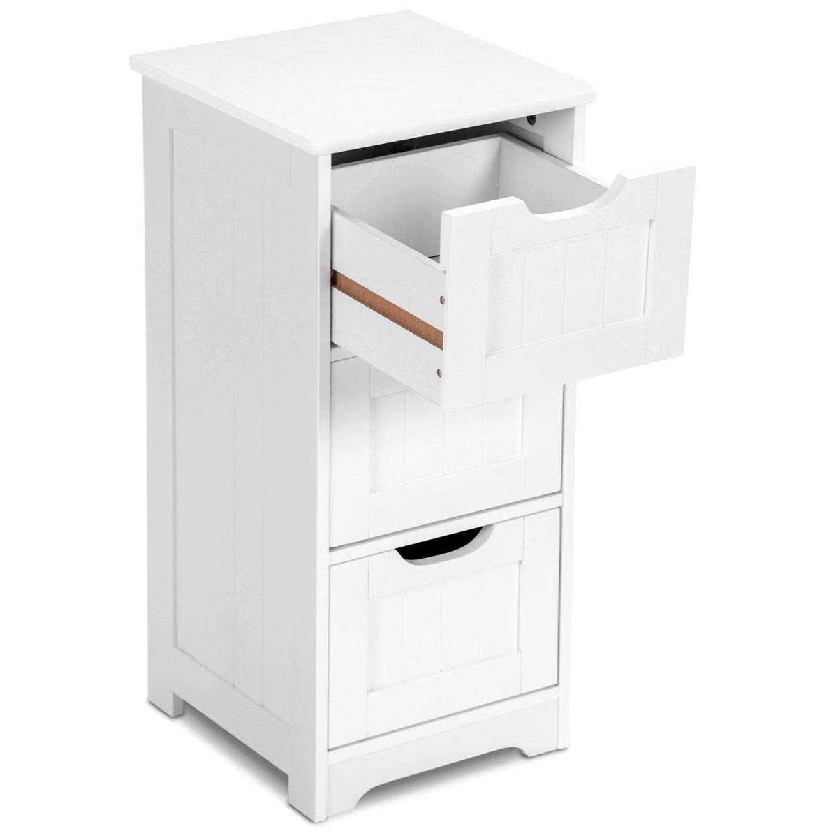 Tangkula Floor Cabinet with 3 Drawers Wooden Storage Cabinet for Home Office Living Room Bathroom Side Table Sturdy Modern Drawer Cabinet Organizer Bedroom Night Stand, White(3 Drawers) by TANGKULA (Image #7)