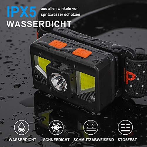 bedee Stirnlampe, 2pcs USB Wiederaufladbar Kopflampe IPX5 Wasserdicht LED Stirnlampen mit 90° Einstellbar, 8 Modi, Edelstahlhaken, Leichtgewichts Stirnleuchte für Kinder/Adults Joggen Campen Radfahren