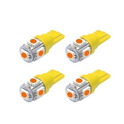 Makergroup T10 194 MiniatureWedge LED Light Bulbs W5W 2825 158 192 168 194 for Car Side Marker Lights Dome Map Door Courtesy License Plate 12V Amber Color 4-Pack: Automotive