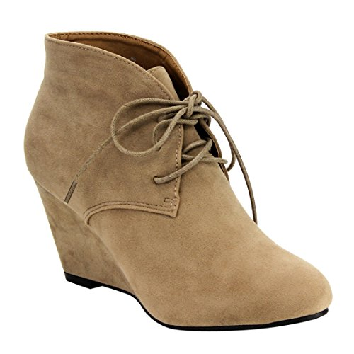 Beston DE06 Women's Lace Up Wrapped Heel Ankle Wedge Booties Run One Size Small, Color Nude, Size:7