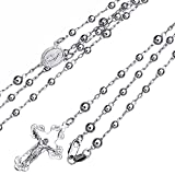 4mm 14K White Gold Our Lady Guadalupe Crucifix Rosary Necklaces
