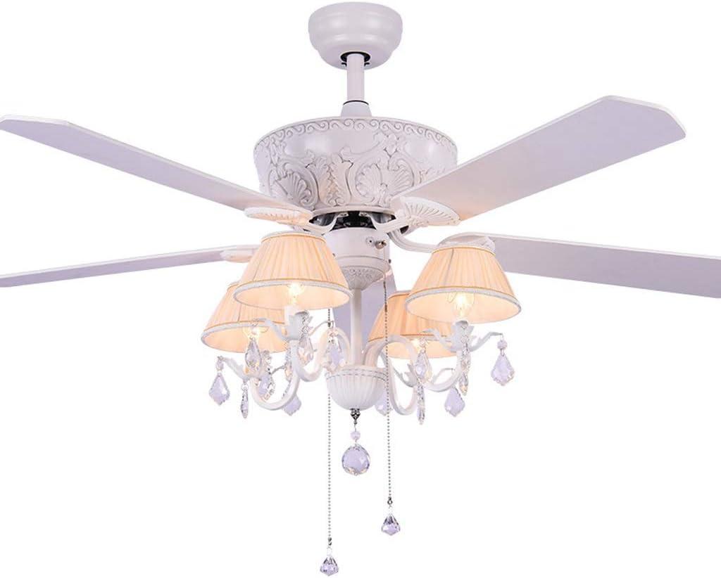 QIULAO Ventilador de techo con luz, 52 in País Retro Luz de ventilador de techo / 5 aspas del ventilador, 4 * E27 Puerto de lámpara, Control remoto con inversor Inversor Araña de luces/Ahorro de ene