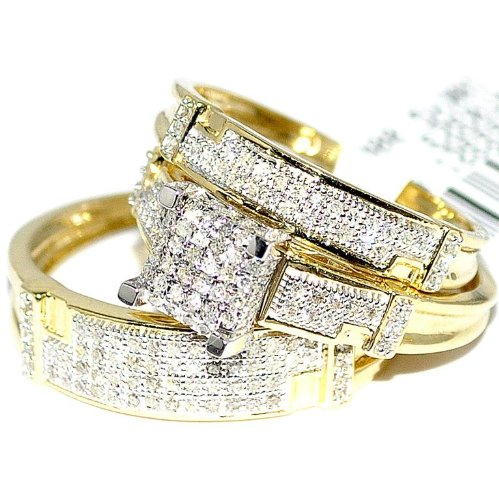 gold wedding rings for her yellow gold trio wedding set mens women rings real 1 2cttw 4557