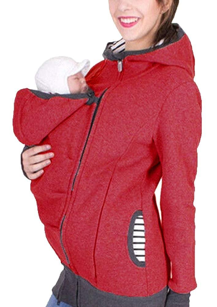 3 in 1 Veste De Portage De Bébé pour Femme Et Bébé Veste De Maternité Veste De Kangourou Kangourou Noir Porte-Bébé pour Femme Enceinte