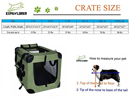 Dog-Crate-Collapsible-Foldable-by-EXPAWLORER-IndoorOutdoor-Pet-Home-Deluxe-Pet-Carrier-Green