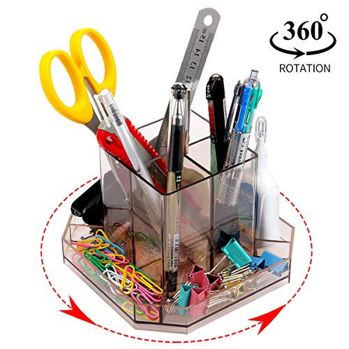 URbantin Rotating Desk Organizer Pencil Holders Pen Holders, Plastic Acrylic Desktop Organizers Caddy for Home Office Supplies Organizers, Tool Organizer Makeup Brush Holder Organizers (Brown) ()