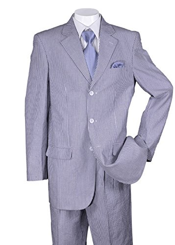 Fortino Landi Pinstripe Seersucker Dress Suit ST802 -Blue-46R - Mens Seersucker Suits