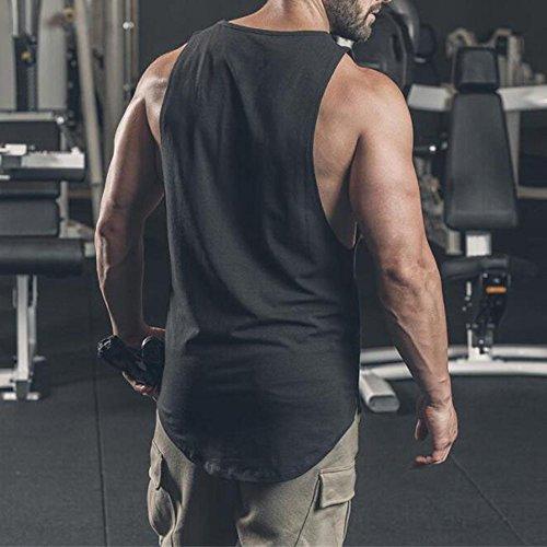 MODOQO Men's Tank Tops Fitness Sleeveless Cotton O-Neck T-Shirt Gym Vest(Black,L) by MODOQO (Image #6)