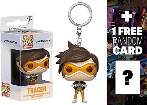 Tracer: Funko Pocket POP! x Overwatch Mini-Figural Keychain + 1 FREE Video Games Themed Trading Card Bundle (14312)