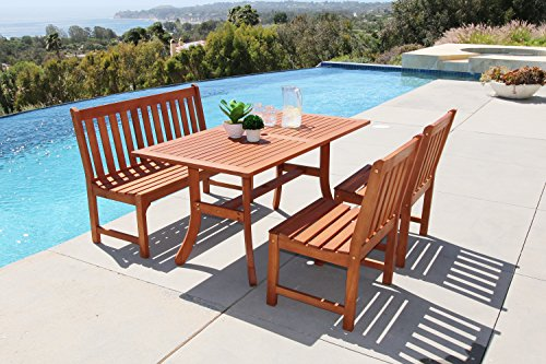 Malibu 4-Piece Outdoor Hardwood Dining Set with Rectangle Table, 4-Foot Bench and 2 Armless Chairs