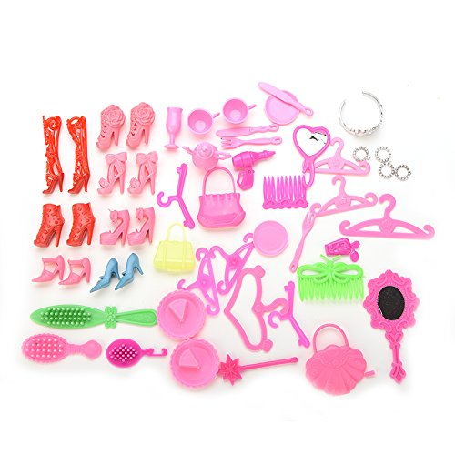 Doll Mirror (Buytra 50 Pcs Doll Accessories Shoes Bag Mirror Hanger Comb Bracelet For Barbie Dolls)